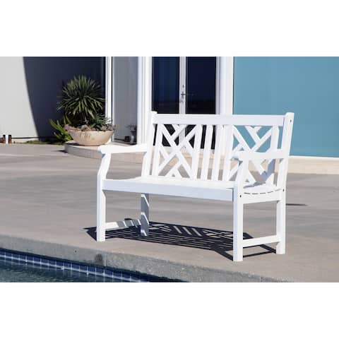 Havenside Home Surfside Eco-friendly 4-foot Outdoor White Wood Garden Bench