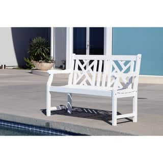 Bradley Eco-friendly 4-foot Outdoor White Wood Garden Bench|https://ak1.ostkcdn.com/images/products/11189175/P18180855.jpg?impolicy=medium