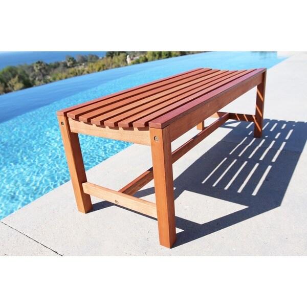 Attractive Malibu Eco Friendly 4 Foot Backless Outdoor Hardwood Garden Bench