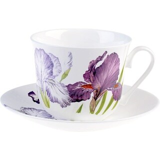 Roy Kirkham Iris Breakfast Cups/ Saucer (Set of 2)