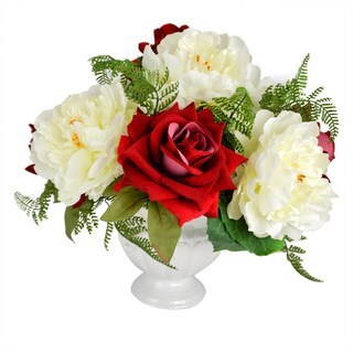 """Valentine's Day 14"""" Red Rose & White Peony Faux Floral"""