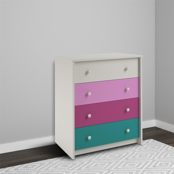 Avenue Greene Gemstone Whimsy 4-drawer Dresser - white/pink/teal