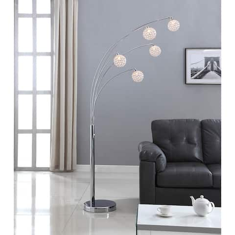 Artiva USA 'Manhattan' 84-inch Modern Chrome 5-arch Crystal Ball Floor Lamp with Dimmer