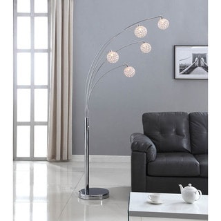 Link to Artiva USA 'Manhattan' 84-inch Modern Chrome 5-arch Crystal Ball Floor Lamp with Dimmer Similar Items in Floor Lamps