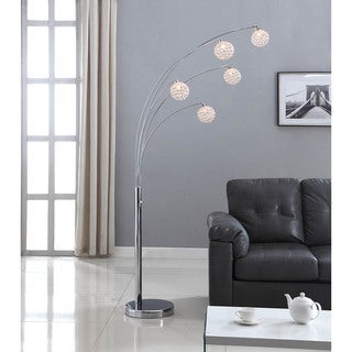 Artiva USA 'Manhattan' 84-inch Modern Chrome 5-arch Crystal Ball Floor Lamp with Dimmer