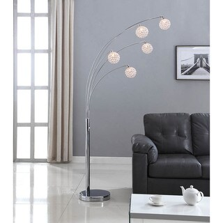 Artiva USA Manhattan Chrome/Crystal Ball 84-inch Modern 5-arch Floor Lamp with Dimmer
