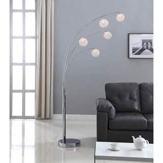 Crystal floor lamps for less overstock artiva usa manhattan 84 inch modern chrome 5 arch crystal ball floor mozeypictures Images