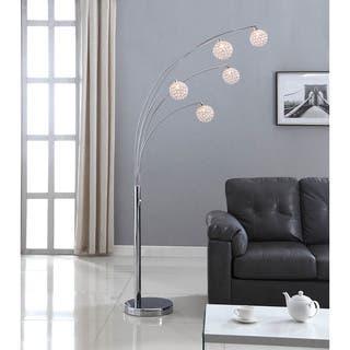 Arc floor lamps for less overstock artiva usa manhattan chromecrystal ball 84 inch modern 5 arch floor lamp aloadofball Images