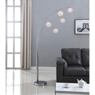 Artiva USA Manhattan 84 Inch Modern Chrome 5 Arch Crystal Ball Floor Lamp  With