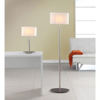 Artiva USA 'Audrey' Slim Oval European Design Brushed Steel Table and Floor Lamp Set - Silver