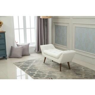 Albright Upholstered White Bench