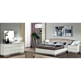 Luca Home White Leather Upholstered 3-piece Queen Bedroom Set