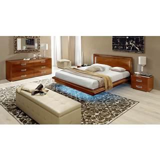 Luca Home Walnut Platform 3-piece Queen Bedroom Set