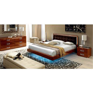 Luca Home Walnut 3-piece Platform Queen Bedroom Set