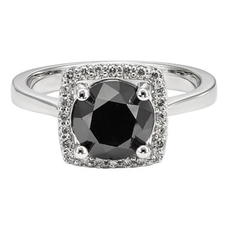 Unending Love 10k White Gold 3 1/7ct TDW Black and White Diamond Engagement Ring
