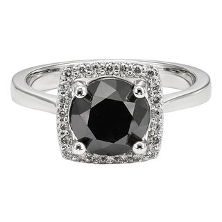 Unending Love 10k White Gold 3 1/7ct TDW Black and White Diamond Engagement Ring (I-J, I2-I3 )