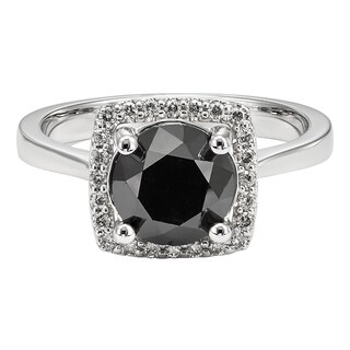 Unending Love Women's 10k White Gold 3 1/6 ctw Black and White Diamond Engagement Ring (5 options available)
