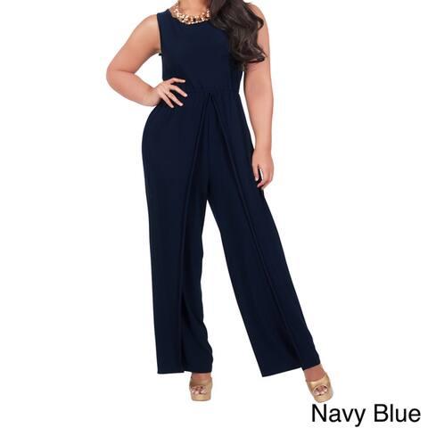 KOH KOH Women's Plus Size Sleeveless Round Neck Slimming Pantsuit