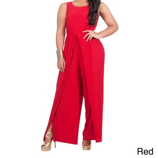 KOH KOH Women's Plus Size Sleeveless Round Neck Slimming Flared 1-piece Pantsuit with Side Slits (More options available)