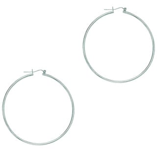 14k White Gold Polish Finished 45mm Hoop Earrings With Hinge With Notched Closure