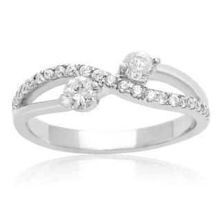 2Be Bonded Together 10k White Gold 3/8ct TDW Two Diamond Plus Ring - White I-J