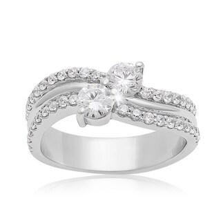 2Be Bonded Together 14k White Gold 1ct TDW Two Diamond Plus Ring (I-J I1-I2)