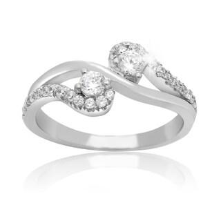 2Be Bonded Together 10k White Gold 1/2ct TDW Two Diamond Plus Ring (I-J I1-I2)