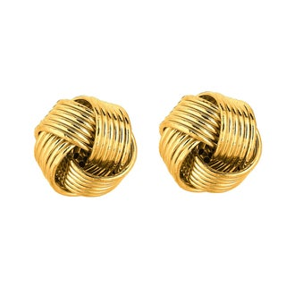 14k Yellow Gold Polish Finished 10mm Textured Love Knot Stud Earrings With Friction Backs