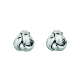 14k  White Gold Polish Finished 9mm Love Knot Stud Earrings With Friction Backs