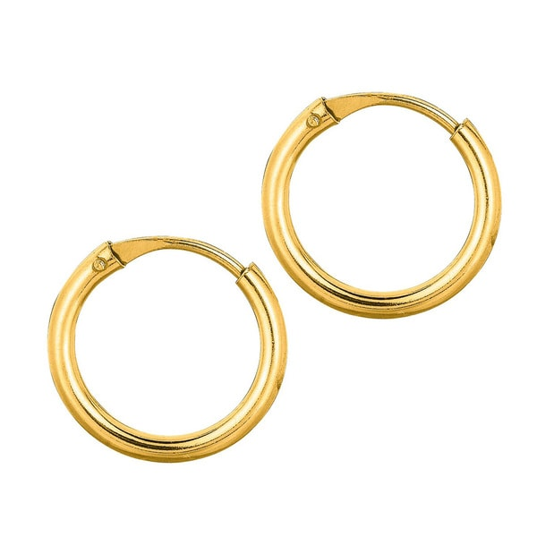 14k Yellow Gold Endless Hoop Earrings W Hidden Snap Backs 10 Mm