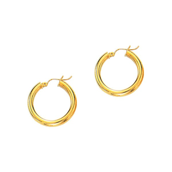 14k Yellow Gold Polish Finished 20mm Hoop Earrings With Hinge Notched Closure