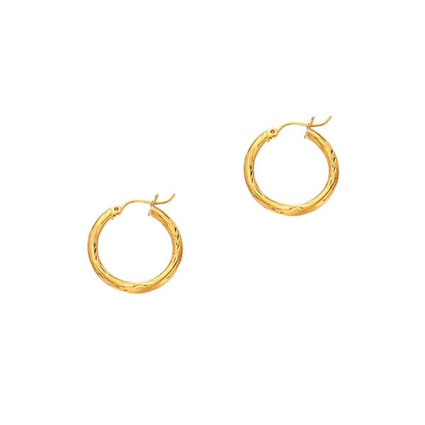 14k Yellow Gold Polish Finished 20mm Diamond Cut Hoop Earrings With Hinge Notched Closure