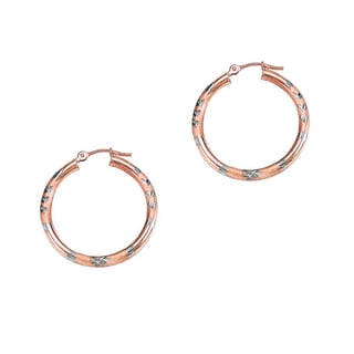 14k Rose and White Gold Polish Finished 25mm Diamond Cut Hoop Earrings With Hinge With Notched Closu