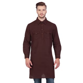 Handmade Shatranj Men's Brown Indian Mid-Length Kurta Tunic Banded Collar Two Pocket Shirt (India)|https://ak1.ostkcdn.com/images/products/11189765/P18181317.jpg?impolicy=medium