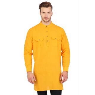 Shatranj Men's Yellow Indian Mid-Length Kurta Tunic Banded Collar Two Pocket Shirt (India)
