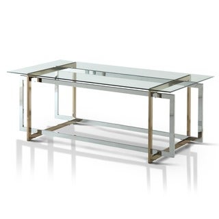 Furniture of America Tamrie Contemporary Two-Tone Glass Top Coffee Table
