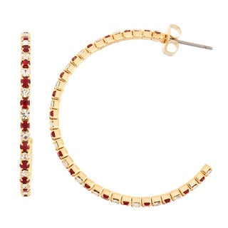 Isla Simone Goldplated 35mm J-hoop Earring with Alternating Crystal