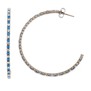 Isla Simone - Black Rhodium Plated 45mm J-Hoop Earring with Alternating Crystal (5 options available)