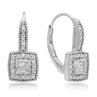 14k White Gold 1/2ct TDW Princess and Round Diamond Cluster Halo Style Drop Earrings (H-I, I1-I2)
