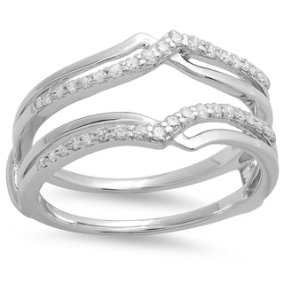 14k White Gold 1/4ct TDW Round Diamond Anniversary Wedding Band Enhancer Guard Double Ring (H-I, I1-I2)