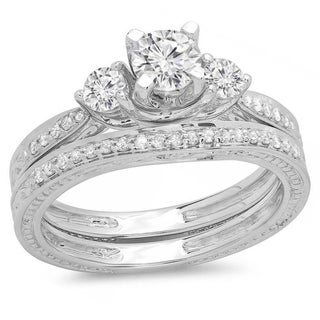 Elora 14k White Gold 1ct TDW Round Diamond Vintage 3-stone Band Set (I-J, I1-I2)