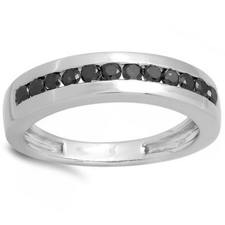 Elora 10k White Gold 1/2ct TDW Black Diamond Men's Hip Hop Wedding Band Anniversary Ring