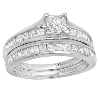 14k White Gold 2ct TDW Princess Diamond Band Set (H-I ,I1-I2)