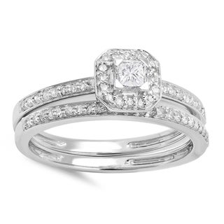 14k Gold 1/2ct TDW Princess and Round Diamond Halo Engagement Bridal Ring (H-I, I1-I2)