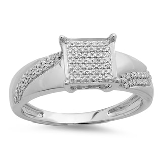 Elora Sterling Silver 1/5ct TDW Round Diamond Micro Pave Ring