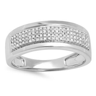 Elora Sterling Silver 2/5ct TDW Round Diamond Men's Ring (I-J, I2-I3)