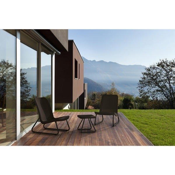 Havenside Home Myrtle 3-piece All-weather Outdoor Conversation Chair and Table Set