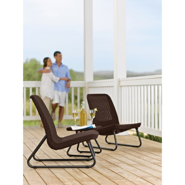 Garden Furniture 3 Piece keter rio 3-piece all-weather outdoor garden patio brown