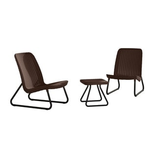 Keter Rio 3-piece All-weather Outdoor Garden Patio Brown Conversation Chair and Table Set Furniture