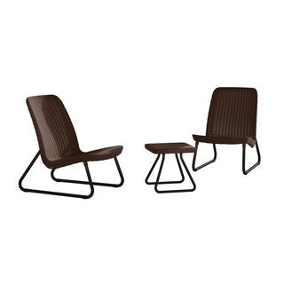 Keter Rio 3-Piece All-Weather Outdoor Conversation Chair and Table Set